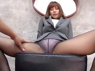Suzu Tsubaki with erotic feet loves upper case a footjob to her husband